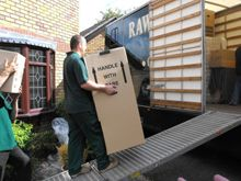 Loading box onto van